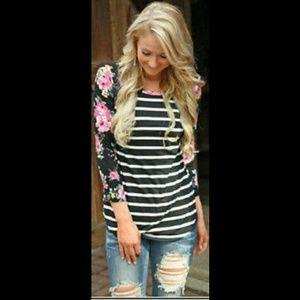 Tops - Black striped floral print baseball raglan shirt